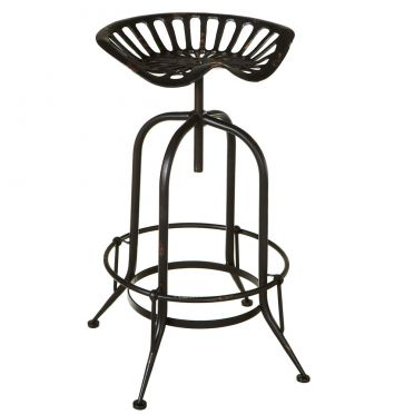 Black Iron Tractor Stool